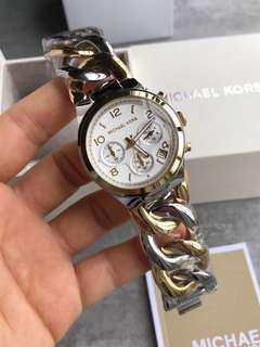 SiMk Michael Kors Twist Chain Chronograph White Dial Ladies Watch