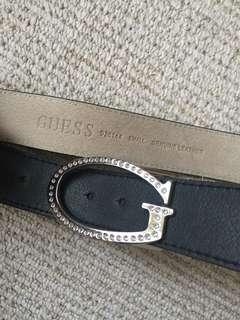 GUESS G logo crystal leather belt