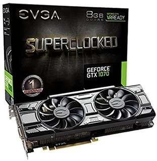 EVGA GeForce GTX 1070 SC GAMING ACX 3.0 Black Edition, 8GB GDDR5, LED