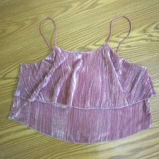 Zara Purple Velvet Crop Top