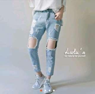 Lulus淺藍刷破牛仔長褲