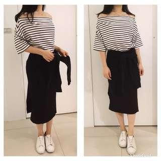 🚚 韓貨 黑色針織毛料 假兩件 袖子綁腰 裙襬兩側開衩 造型中長合身窄裙 微鉛筆裙