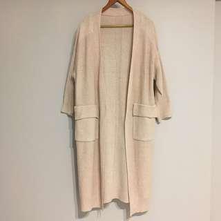 🚚 韓 米駝色 米色 大口袋針織長版外套 秋冬層次搭配保暖必備