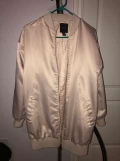 Forever 21 Pink Satin Long Bomber Jacket