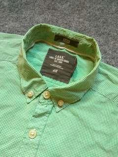 H&M Button-down Micro Gingham Shirt Short Sleeve