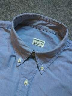 CLUB MONACO Button-down Pinstriped Cotton Shirt Long Sleeve
