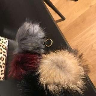 Raccoon Fur Pompom Keyring