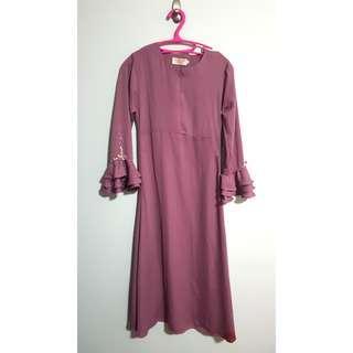 Bn Long sleeve maxi dress bell sleeve nursing breastfeeding friendly dusty pink purple