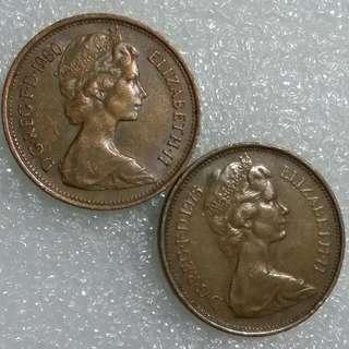2p New Pence 1975 & 1980