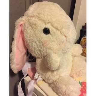 Cute bunny backpack & plush fuzzy rabbit