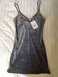 Silver Velvet Slip Dress