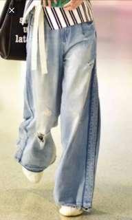 型格牛仔超闊脚長褲