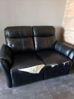 Black leather recliner 2 seater
