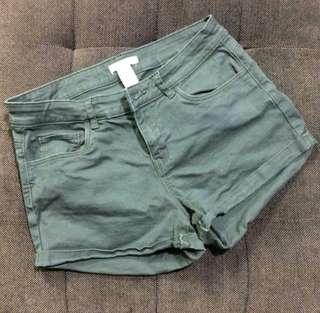 H&M Army Green HW Shorts