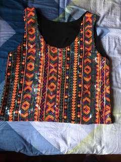 Colourful sequinned top