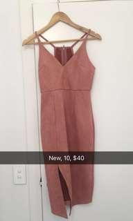 Dusty pink suede type midi dress new