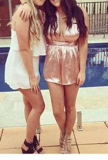 Pink silk satin tie up playsuit