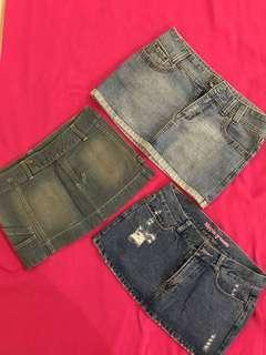 Mini skirts jeans