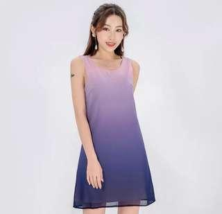 🌷(IN STOCK) Ombre Breeze Trapeze Dress Pastel Sky