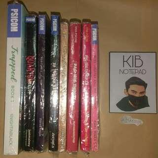 8 PSICOM BOOKS including Trapped by KIB / KnightInBlack and free KIB notepad