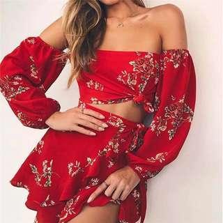 Red Floral Off The Shoulder Set