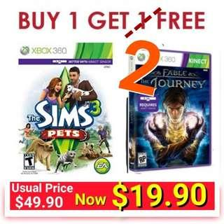 3 for the Price of 1 - 3 pieces of  Kinect Games Xbox360  The Sims Pet(Req 'The Sims 3 in order to play) and kinect Fable for just $19.90. (Usual Price: $ 49.90 + $29.90) Brand New in box and sealed.