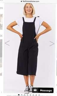 Feather and noise black linen pinafore overalls playsuit