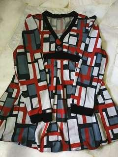 Blouse Black-Red Abstract Top (Size M)