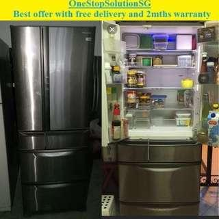 Panasonic (525L) 6 doors fridge / refrigerator ($500 + free delivery and 2mths warranty)