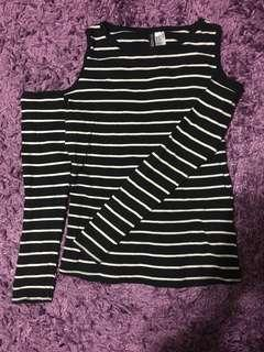 H&M Black And White Stripped Cold Shoulder Top