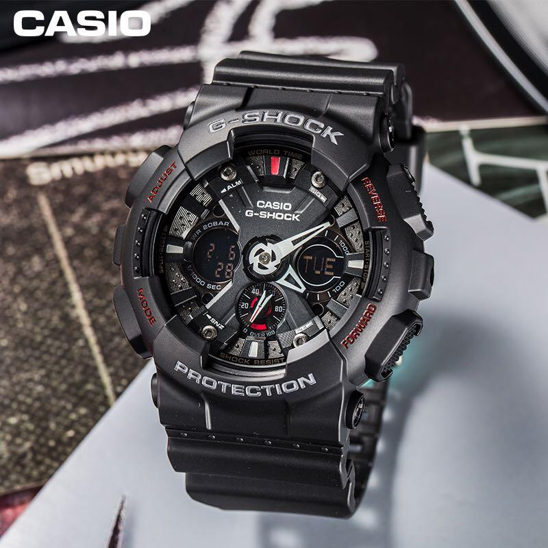 100 Authentic Casio Gshock Ga120 Black Red With Free