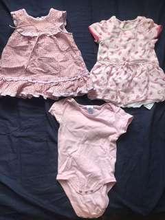 粉紅 pink dress for baby girl 3pcs