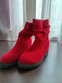 Women Winter Mid-Calf Suede Boots Red