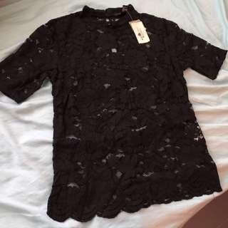 包郵- 黑色貼身lace top (Forever21)
