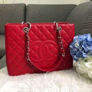 ❤️So Beautiful!❤️ Chanel Grand Shopping Tote in Red Caviar SHW