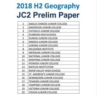 2018 H2 Geography Prelim Paper / Exam Paper