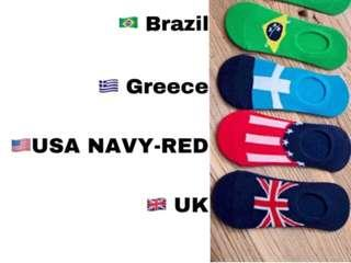 Unisex Iconic World Country Flag Foot Cover Socks with Gel