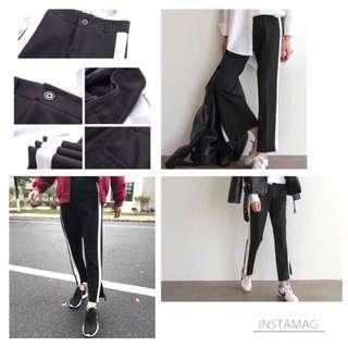 #剁手時尚 側邊白條開衩老爺褲哈倫褲 XL(建議大M小L)