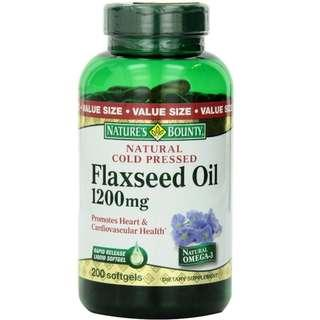 Nature's Bounty Natural Cold Pressed Flaxseed Oil, 200 cts, 1200mg