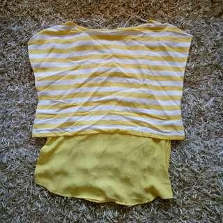 ZARA yello stripes blouse