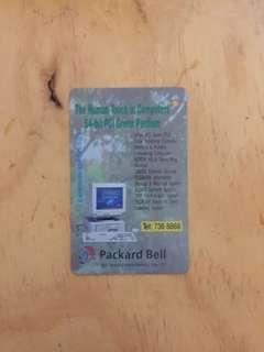 90年代初地鐵儲值票,背面Packard Bell 電腦廣告,MTR Stored Value Ticket, Packard Bell Ad on backside from early 1990's