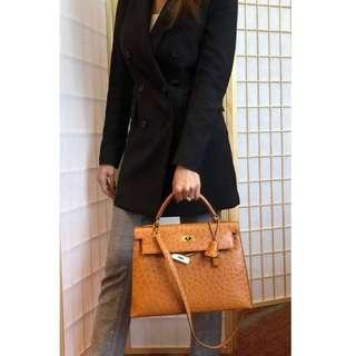 Authentic Hermes Kelly 32 Ostrich Ghw