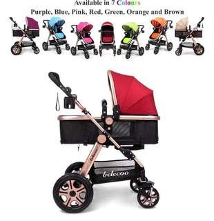 2 Air Tyres Belecoo Without Suspension Stroller Red Design