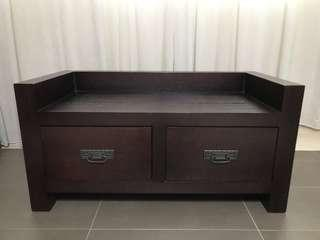 Solid Wood Storage Bench / Wooden Bench With Drawers