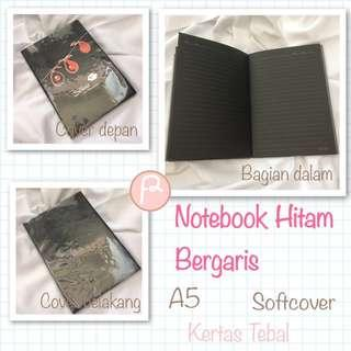 Notebook Hitam Bergaris