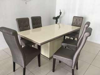 Modern stone Dining Table set. 6 person.