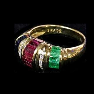 750 YELLOW GOLD WITH RUBY, SAPPHIRE, EMERALD AND DIAMOND RING