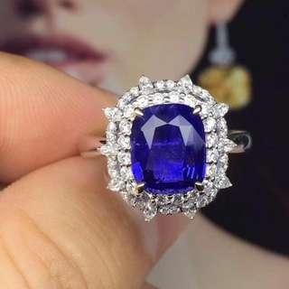 3.23ct-變色藍寶石鑽石戒指 natural blue sapphire diamond ring color change