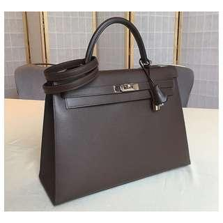 Authentic Hermes Kelly 35 Chocolate