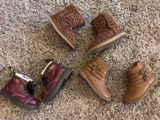 Assorted toddler booties and shoes